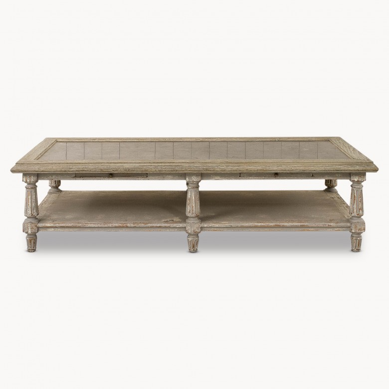 Coffee Table With Bluestone Top: Woodcroft Colonial Grey Oak And Stone Top Coffee Table